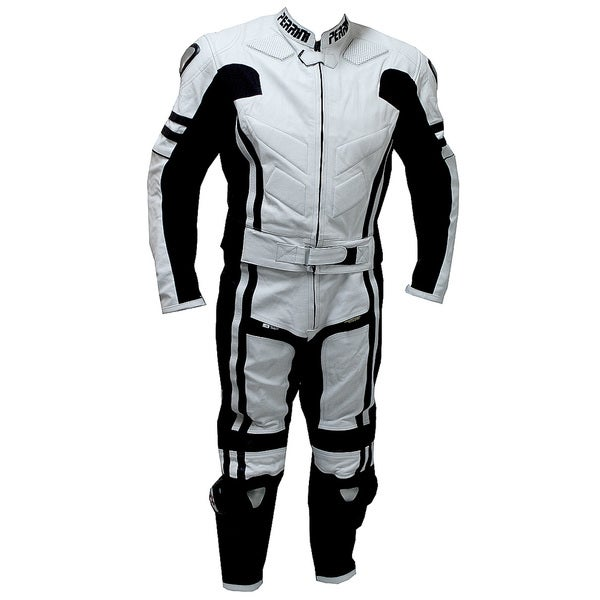 2-piece Perrini Ghost Motorcycle Racing Leather Suit Metal Waist Zipper 11485874