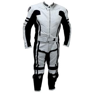2-piece Perrini Ghost Motorcycle Racing Leather Suit Metal Waist Zipper