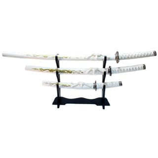 Carbon Steel White Dragon Design Samurai Katana 3-piece Swords Set