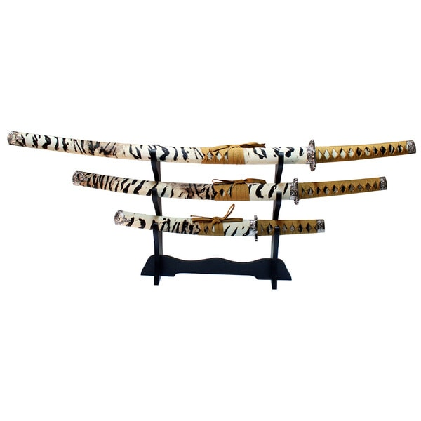 Defender Leopard Print 3-piece Samurai Katana Swords Set w/ Stand