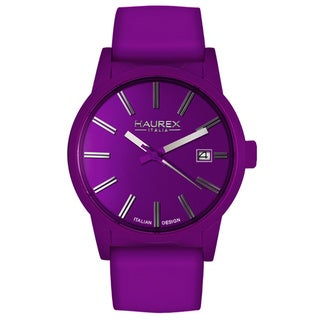 Haurex Italy Women's Compact Purple Aluminum/ Leather Strap Watch