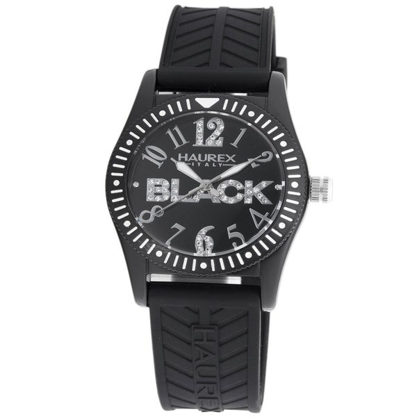 Haurex Italy Women's 'Promise G P' Black Crystal-accented Watch 11486222