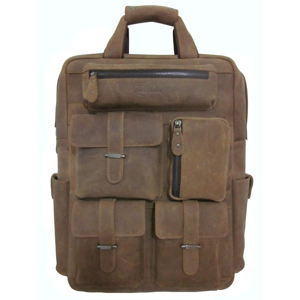 Amerileather 'Expedition' Khaki Nubuck Leather Traveler Backpack