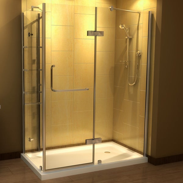 Aston 60 X 32 Inch Clear Glass Frameless Shower Enclosure With Acrylic Base