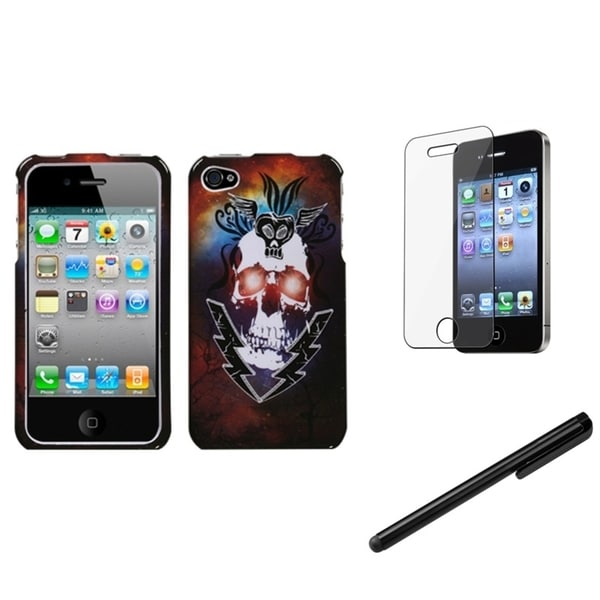 INSTEN Skull Phone Case Cover/ Stylus/ LCD Protector for Apple iPhone 4/ 4S