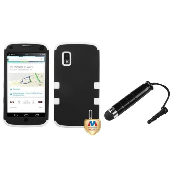 BasAcc Black Hybrid Protector Case/ Mini Stylus for LG E960 Nexus 4