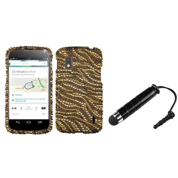BasAcc Tiger Skin Diamante Case/ Mini Stylus for LG E960 Nexus 4