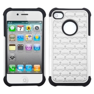 INSTEN White/ Black Lattice TotalDefense Phone Case Cover for Apple iPhone 4S/ 4
