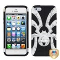 BasAcc White/ Black Lines/ Spiderbite Hybrid Case for Apple iPhone 5