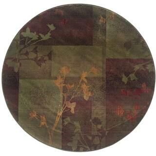 Kharma II Purple/ Green Rug (6' Round)