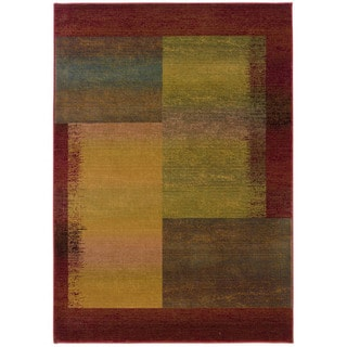 Kharma II Green/ Red Polypropylene Rug (7'10 X 11')