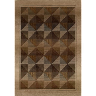 Generations Contemporary Beige/ Green Rug (6'7 x 9'1)