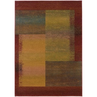Kharma II Green/ Red Rug (6'7 x 9'1)