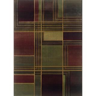 Kharma II Green/ Purple Rug (5'3 x 7'6)