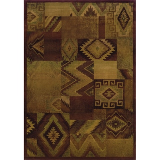 Kharma II Tan/ Red Polypropylene Rug (7'10 x 11')