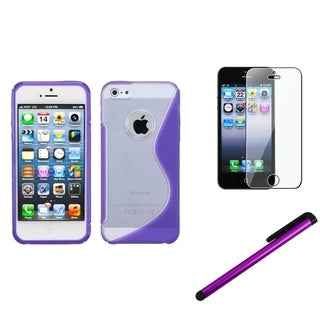 INSTEN Clear Purple Phone Case Cover/ Stylus/ LCD Protector for Apple iPhone 5/ 5C/ 5S/ SE