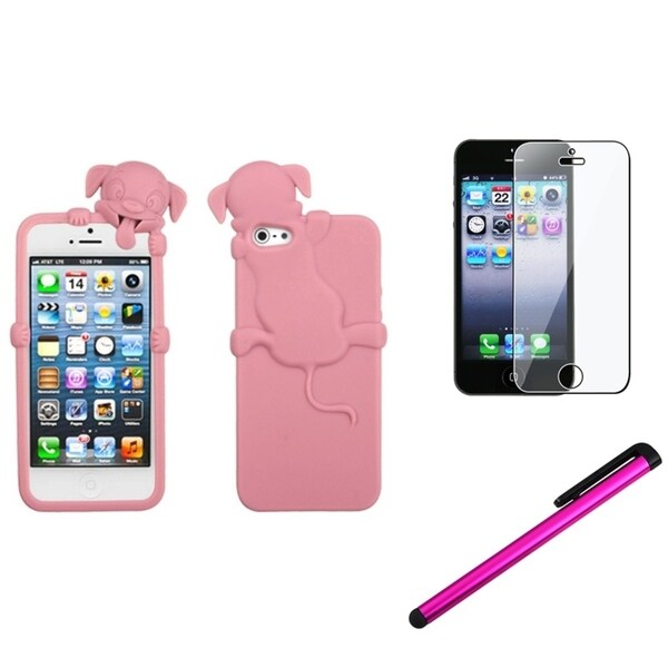 INSTEN Cute Pink Dog Phone Case Cover/ Stylus/ LCD Protector for Apple iPhone 5