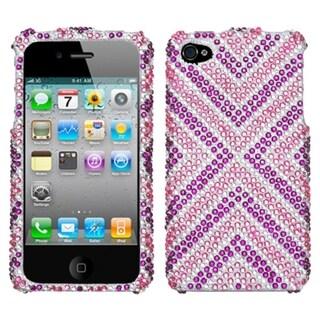 INSTEN Cautions/ Diamante Phone Case Cover for Apple iPhone 4S/ 4
