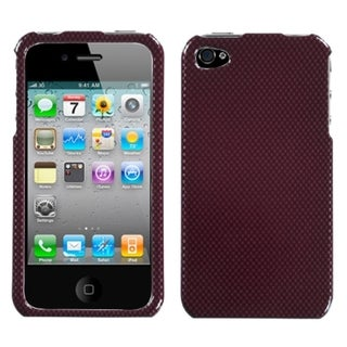 BasAcc Carbon Fiber/ Red Phone Case for Apple iPhone 4S/ 4