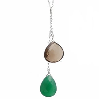 Ashanti Sterling Silver Green Chalcedony and Smokey Quartz Necklace (Sri Lanka)