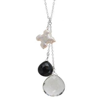 Ashanti Sterling Silver Rock Crystal, Black Onyx with Cross Freshwater Pearl Necklace (Sri Lanka)