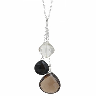 Ashanti Sterling Silver Smokey Quartz, Black Onyx and Rock Necklace (Sri Lanka)
