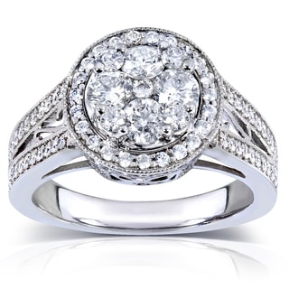 Annello 14k White Gold 1 1/3 ct TDW Ladies Round Diamond Cluster Engagement Ring (H-I, I1-I2)