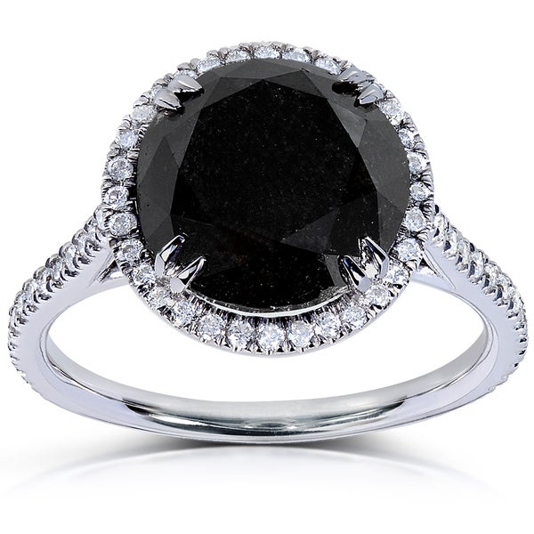 Annello 14k White Gold 4 1/3ct TDW Black and White Diamond Ring (H-I, I1-I2)