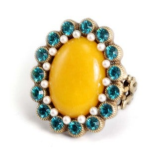 Sweet Romance Bronzetone Yellow Glass and Blue Crystal Ring