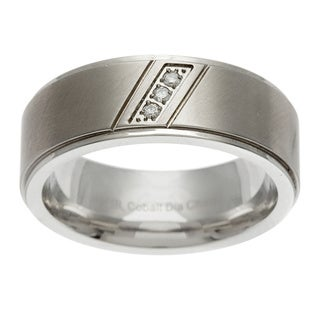 Scott Harris Stainless Steel Men's Diamond Accent Band (Size 10)
