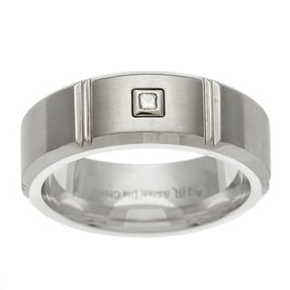 Scott Harris Steel Men's 8-mm Princess-cut Diamond Band
