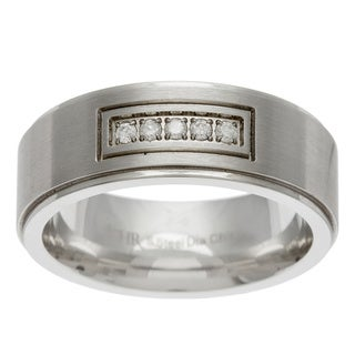 Scott Harris Stainless Steel Men's 1/10ct TDW Diamond Band (Size 10)