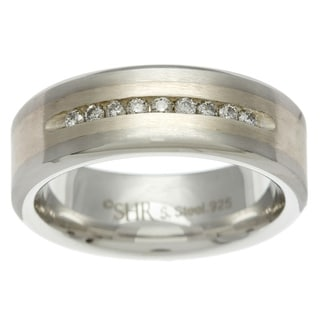 Scott Harris Stainless Steel and Silver Men's 1/5ct TDW Diamond Band (H-I, I1-I2)