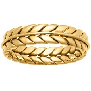 14k Yellow Gold Men's Comfort Fit Double Rope Design Wedding Band