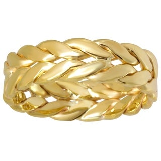 14k Yellow Gold Men's Comfort Fit Double Rope Design 6 mm Wedding Band