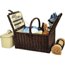 Picnic at Ascot Buckingham Basket for Four with Blanket Brown Wicker/Blue Stripe