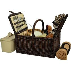 Picnic at Ascot Buckingham Basket for Four with Blanket Brown Wicker/London Plaid