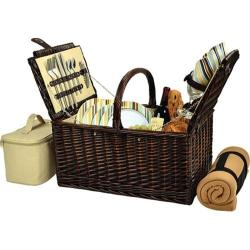 Picnic at Ascot Buckingham Basket for Four with Blanket Brown Wicker/Santa Cruz Stripe