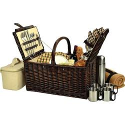 Picnic at Ascot Buckingham Basket for Four with Blanket and Coffee Brown Wicker/London Plaid