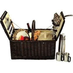 Picnic at Ascot Buckingham Basket for Four with Coffee Brown Wicker/London Plaid