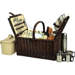 Picnic at Ascot Buckingham Basket for Four with Coffee Brown Wicker/Santa Cruz Stripe