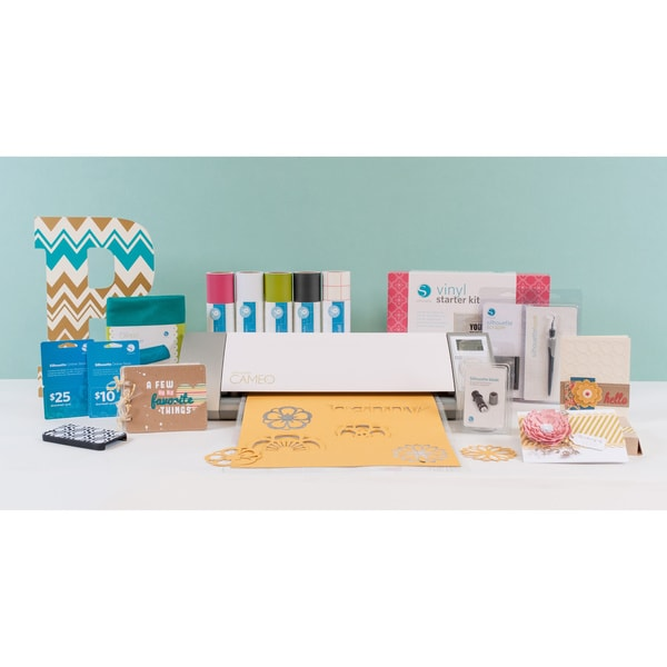Silhouette Cameo Die Cutting Machine + Vinyl Starter Kit Bundle + $25 + $10 Download Card