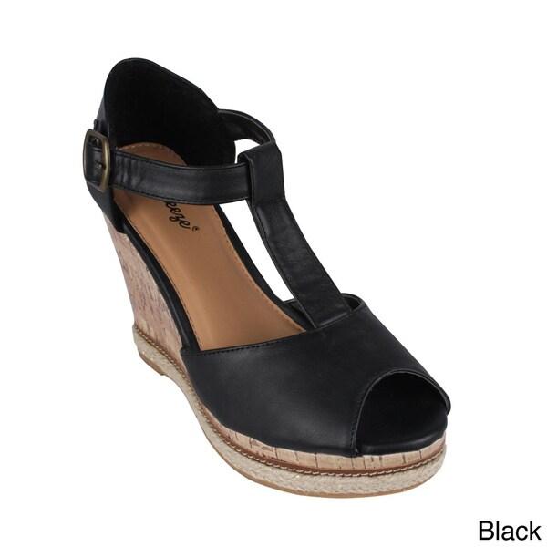 Reneeze Women's 'Donna-03' T-strap Wedge Sandals