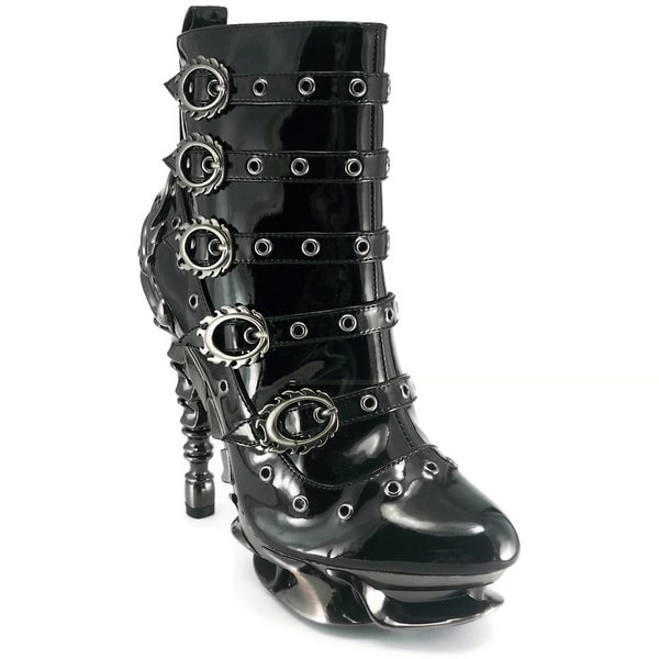 Hades Women's 'Machina' Black Patent Multi-buckle Ankle Boots