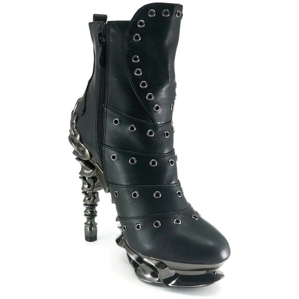Hades Women's 'Raven' Black Leather Grommeted Ankle Boots
