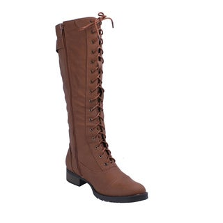 Refresh Women's 'Cici' Cognac Knee-high Lace-up Boots