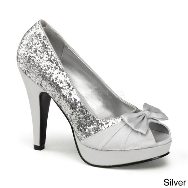 Pinup Couture Women's 'Bettie-10' Glitter Vamp Bow Peep-toe Pumps