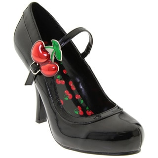 Pinup Couture Women's 'Cutie Pie-10' Black Patent Cherry Buckle Pumps