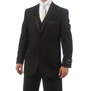Ferrecci Men's Black 3-piece Vested Tuxedo Set