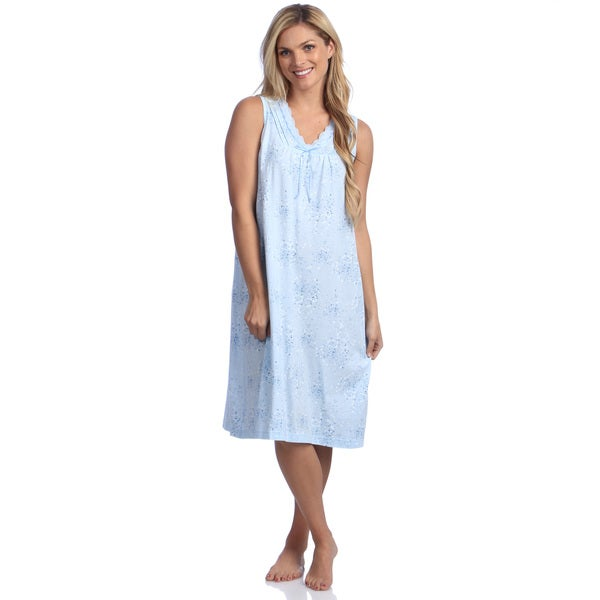 La Cera Women's Blue Cotton Knit Chemise